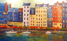Oil Painting FRANCE - HUGE Original Wall Art - HONFLEUR France --- Ready to Hang