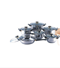 Set of Pots and Pans 12 PC Stainless Steel Cookware Kitchen Dining Home Gifts