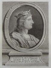 Antique Print Gravure Portrait LOUIS V dit Le Fainéant Boizot Fiequet