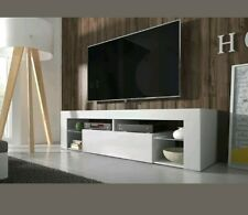 "^ Hugo White High Gloss Led Tv Stand Cabinet Living Room Unit 50"" 140cm  25,21"