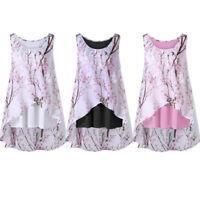 Womens Summer Sleeveless Floral Blouse Shirts Ladies Beach Vest Chiffon Tank Top