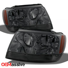 Fit 99-04 Jeep Grand Cherokee Smoked Headlights Headlamps L+R 2000 2001 2002