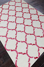 Rug USA Moroccan Scroll 5x8 White/Red Handmade Tufted Woo& l Area Rug & Carpet