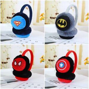 Kids Superhero Spiderman Batman Earmuffs Soft Warm Winter Boy Girls Xmas Gift UK