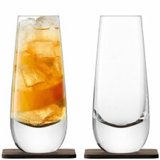 LSA Whisky Islay Mixer Glasses on Walnut Coasters - Set of 2
