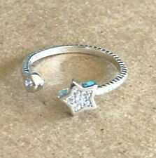 Sterling Silver .925 Toe Ring ~ Ribbed Bits of Cz's Star and a Round Cz $8.99