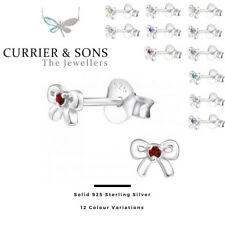 925 Sterling Silver Bow with Birthstone Cubic Zirconia Stud Earrings (Pairs)