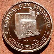 1991 1 oz. SILVER Round ⚜️ Central City COLORADO Casino Gambling LUCKY BUCK