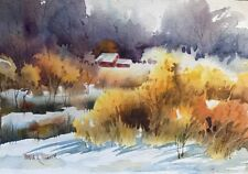 7 X 10 Original Watercolor By Pamela Wilhelm Red barns Late Autumn Snow