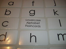 26 Laminated Black and White Lowercase Alphabet Preschool Flashcards.  4.25x2.25