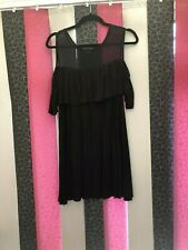 **~Stunning Yours Black Mesh Top Cold Shoulder Top~**