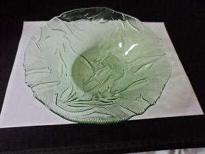 GREEN PRESSED GLASS DISH, LEAF PATT. 8INS DIA X 3INS DEEP. VERY GOOD