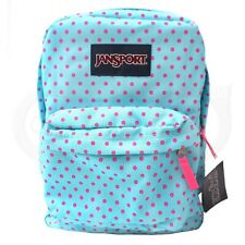 Jansport Classic Superbreak Backpack Blue Pink Dot Casual Student Casual Bag NEW