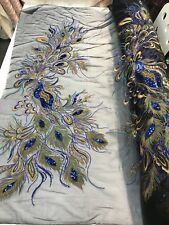 ROYAL BLUE PEACOCK EMBROIDERY WITH GOLD METALLIC TREAD AND SEQUINS ON BLACK MESH