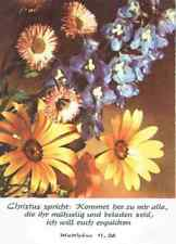FÜR SAMMLER: Alte Blumen-Postkarte mit Bibelzitat Matthäus 11,28, ungelaufen