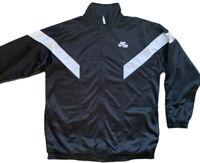 VTG Nike Air Track Jacket Mens Full Zip Swoosh Logo Lined Large Black
