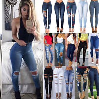 Womens Ripped Stretchy Jeans Skinny High Waisted Denim Pants Jeggings Trousers