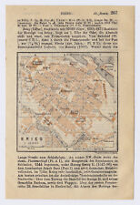 1914 ORIGINAL ANTIQUE MAP OF BRIEG BRZEG SILESIA SCHLESIEN POLAND GERMANY