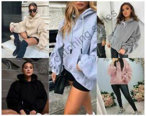 Womens Ruched Sleeve Fleece Oversized Hooded Ladies Sweatshirt Hoodie Jumper Top
