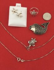 Vtg.STERLING SILVER 925 JEWELRY MARINE LIFE LOT ALL Excellent Condition