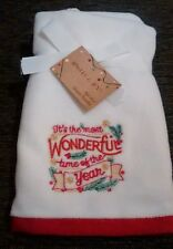 Xmas set of 2 guest towels embroidered 100% cotton it's the most wonderful time