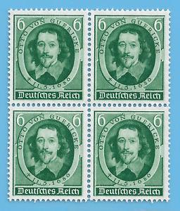 Germany Third Reich German 1936 Otto von Guericke Stamp Block WW2 Era  #86