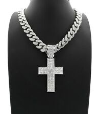 "ICED HOLY CROSS PENDANT DIAMOND 20"" CUBAN LINK CHAIN NECKLACE SILVER HIP HOP"