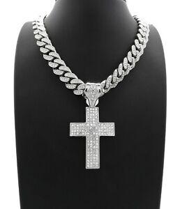 "ICED HOLY CROSS PENDANT DIAMOND 20"" CUBAN LINK CHAIN NECKLACE SILVER HIP HOP"