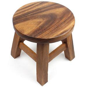 Children Kids Handmade Acacia Wooden Stool Seat Step Fair Trade Thailand Gift
