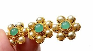 1930's Chinese 22K Gold Pearl & Stone Carved Carving Pin Brooch Mk 泰生足金