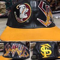 FLORIDA STATE SEMINOLES 90s VTG Leather Hat Strapback GRAFFITI FSU Snapback OG