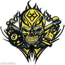 Skull Flaming 8 Ball Pool Snooker Dice Biker Rider Motocycles Iron on Patch 0761