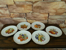 6 VINTAGE GERMANY WINTERLING ROSLAU  BAVARIA FRUIT DECORATED PLATES 7.5""