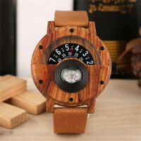 Handmade Men Wooden Watch Sandalwood Compass Bamboo Wood Quartz Watches Leather
