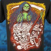 vintage 80s GRIM REAPER CARTOON PAPER THIN T-Shirt M satan skeleton punk biker