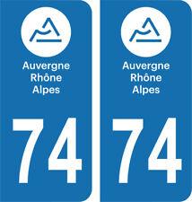 Département 74 - 2 autocollants style immatriculation AUTO PLAQUE AUVERGNE 2018