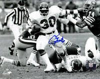 Tony Galbreath Signed New York Giants B&W Action 8x10 Photo - SCHWARTZ