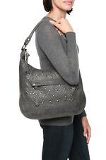 $478 Frye Melissa Large Leather Studded Shoulder Bag Grey