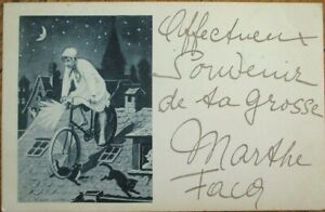 Bicycle-Riding Man on Roof, Moon & Stars 1902 French Fantasy Postcard