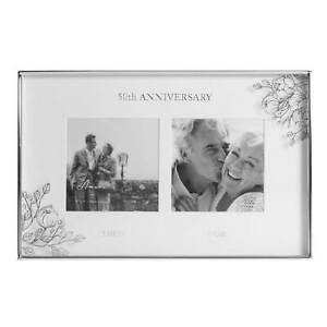 50th Wedding Anniversary Silver Dual photo Frame. Then & Now