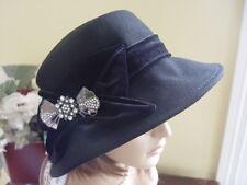 SCALA BLACK WOOL FELT WINTER HAT WITH BLACK  VELVET & DIAMONTE BOW  DETAIL