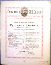 "ca.1890 M.Glinka Opera ""Ruslan and Ludmila"" Lyrics in Russian and German"