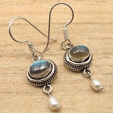 925 Silver Plated Fiery LABRADORITE  & Natural PEARL Beads Chandelier Earrings