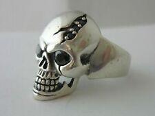 Stunning Unusual Vintage Sterling Silver & Garnet Skull Ring Size R