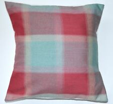 "16"" New Laura Ashley 'Penrith Check' Cranberry fabric cushion cover"