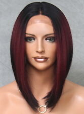 Women Lace Front Wig Straight Fashion Burgundy w. Dark Roots Hair Piece Burg LBY