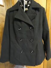 Womens Large 12/14 George Black Double Breasted Peacoat