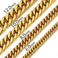 Mens Jewelry 6/8/10/12mm Stainless Steel 18k Gold Link Curb Cuban Chain Necklace