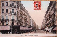 Lyon, France 1909 Postcard: Rue de la Republique / Street Scene