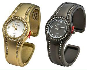 Blekon Collections Quartz Women's 28mm Case Classic Look Cuff Bangle Watch